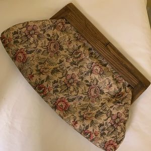 Vintage Clutch, Wood detail floral tapestry fabric